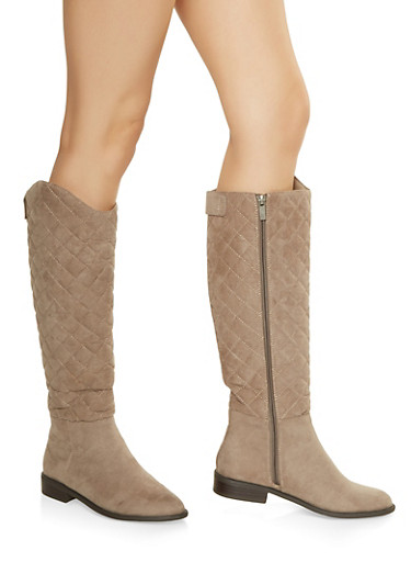 Tall Quilted Boots,TAUPE,large
