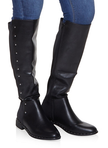 Tall Studded Riding Boots,BLACK,large