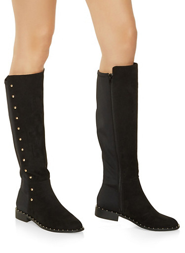 Tall Studded Riding Boots,BLACK SUEDE,large
