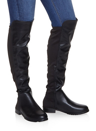 Over the Knee Neoprene Insert Boots,BLACK,large