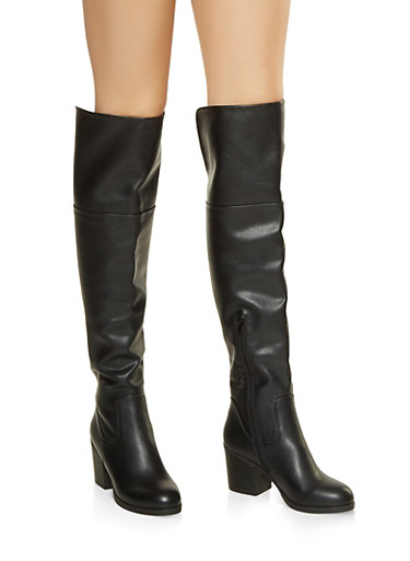 Mid Heel Over the Knee Boots,BLACK,large