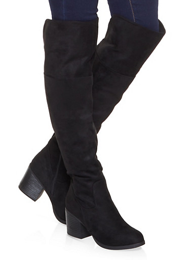 Mid Heel Over the Knee Boots,BLACK SUEDE,large