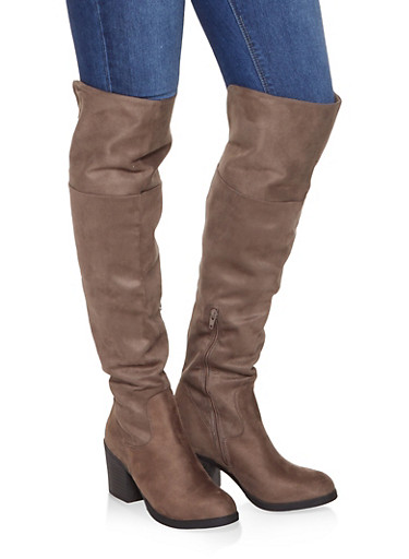 Mid Heel Over the Knee Boots,TAUPE,large