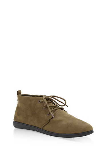 Faux Suede Lace Up Desert Booties,OLIVE F/S,large