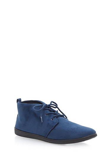 Faux Suede Lace Up Desert Booties,NAVY F/S,large
