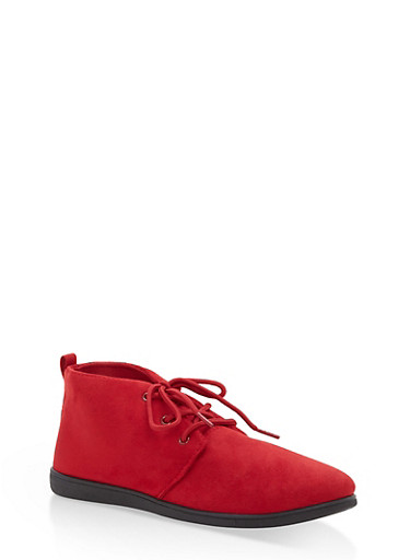 Faux Suede Lace Up Desert Booties,RED F/S,large