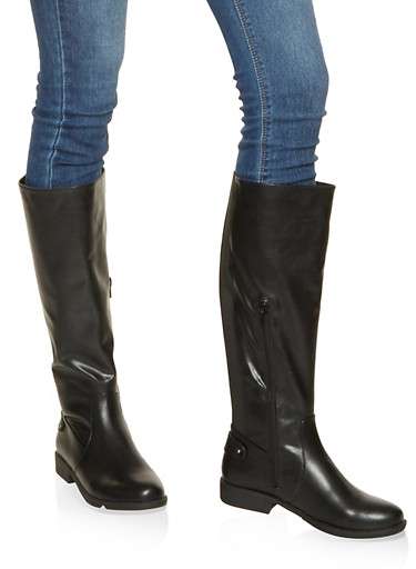 Gore Detail Tall Boots,BLACK,large