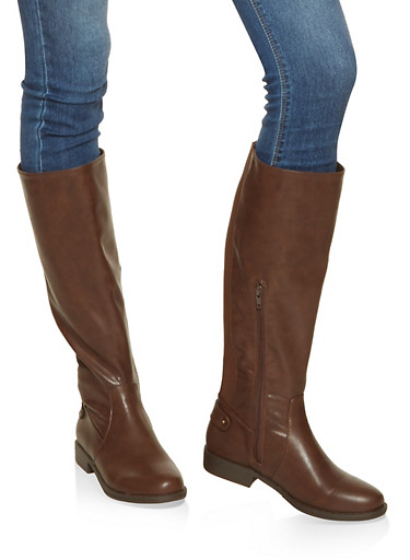 Gore Detail Tall Boots,BROWN,large
