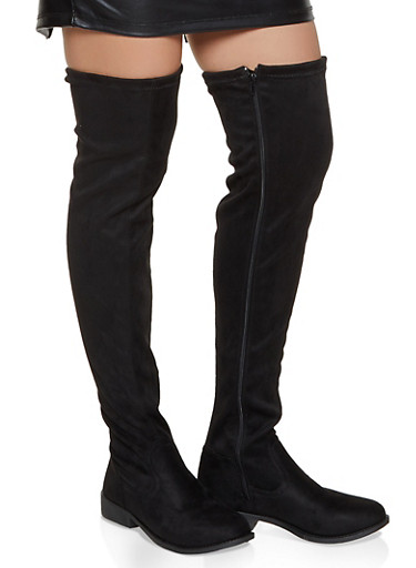 Flat Over the Knee Boots,BLACK SUEDE,large