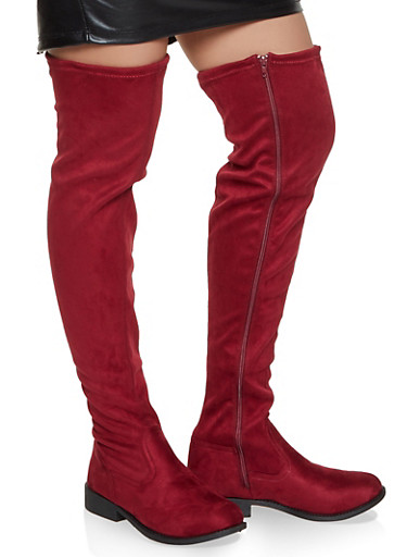 Flat Over the Knee Boots,BURGUNDY,large