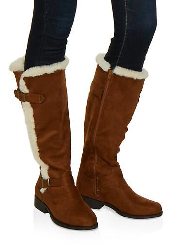 Faux Fur Trim Boots,BROWN,large