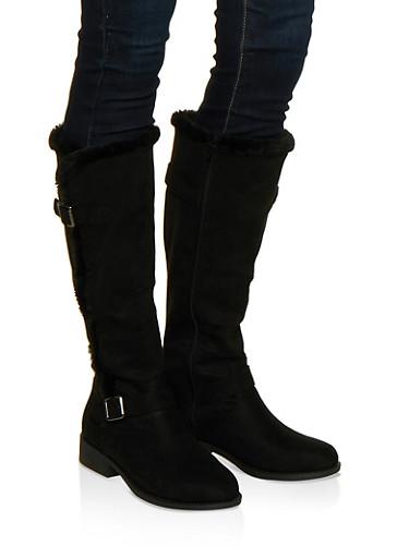 Faux Fur Trim Boots,BLACK SUEDE,large