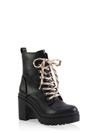 Lace Up Platform Booties,BLACK,large