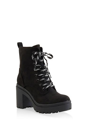 Lace Up Platform Booties - BLACK SUEDE - 1116004067342