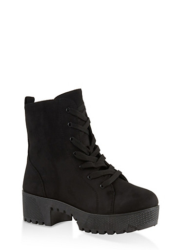 Lace Up Platform Boots | 1116004067640,BLACK SUEDE,large