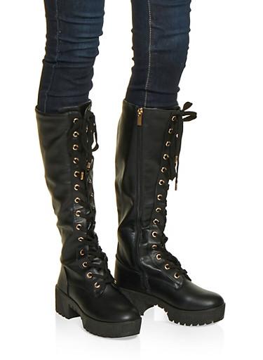 Lace Up Platform Boots,BLACK,large