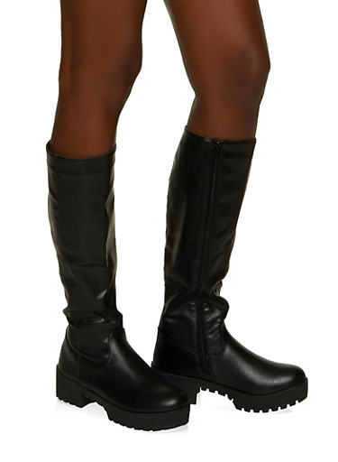 Tall Platform Boots,BLACK,large