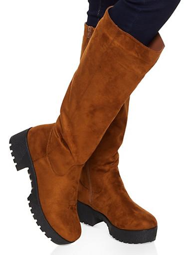 Tall Platform Boots,BROWN,large