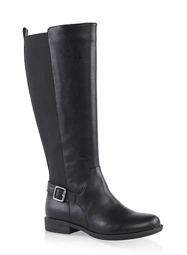 Tall Stretch Riding Boots,BLACK,large