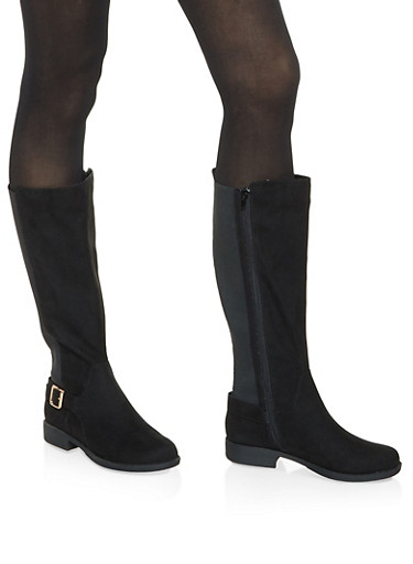 Tall Stretch Riding Boots,BLACK SUEDE,large