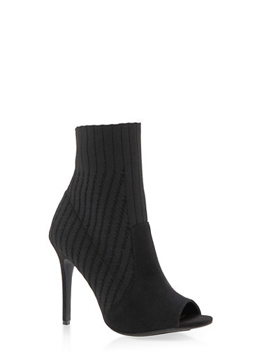 Open Toe Knit High Heel Booties,BLACK KNIT,large
