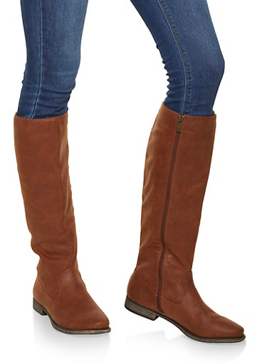 Tall Side Zip Boots,CHESTNUT,large
