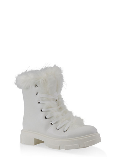 Faux Fur Trim Hiking Boots,WHITE,large