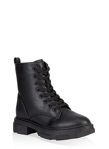 Chunky Platform Combat Boots,BLACK,large
