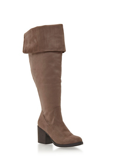 Wide Calf Knee High Boots with Fold Over Cuff,TAUPE F/S,large