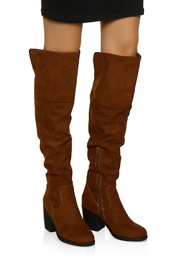 Over the Knee Block Heel Boots,BROWN,large
