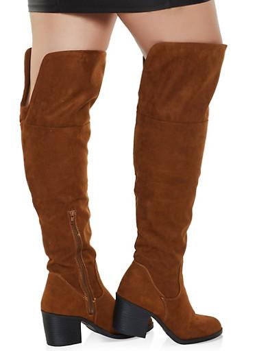Wide Calf Over the Knee Block Heel Boots,BROWN,large