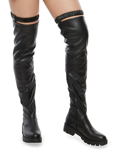 Over the Knee Boots with Attached Garter,BLACK SPU,large