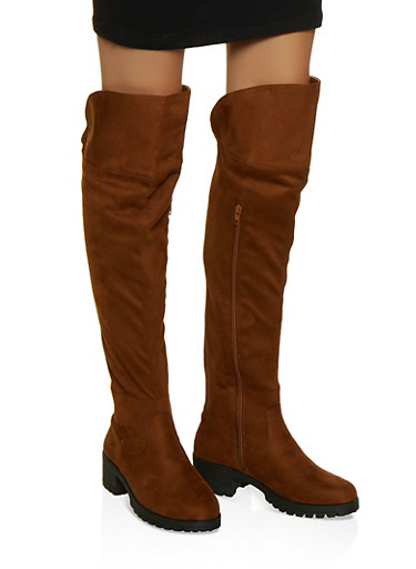 Over the Knee Gore Boots,BROWN,large