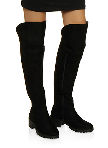 Over the Knee Gore Boots,BLACK SUEDE,large