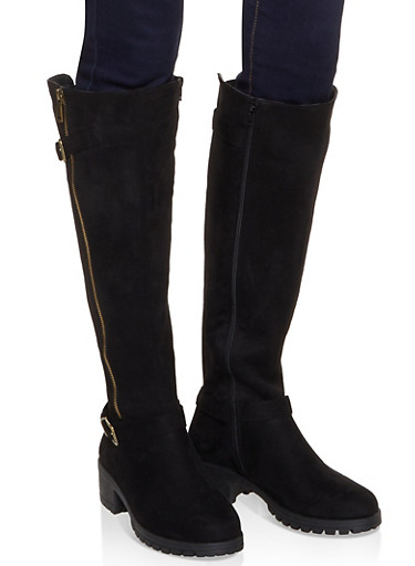 Tall Moto Boots,BLACK SUEDE,large
