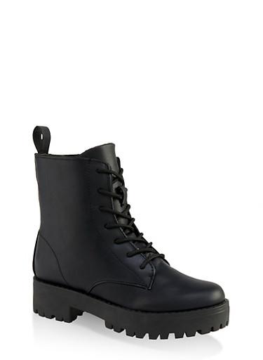 Lace Up Lug Sole Combat Boots,BLACK,large