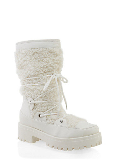 Sherpa Lace Up Boots,WHITE,large