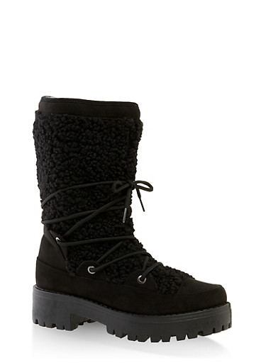 Sherpa Lace Up Boots,BLACK SUEDE,large
