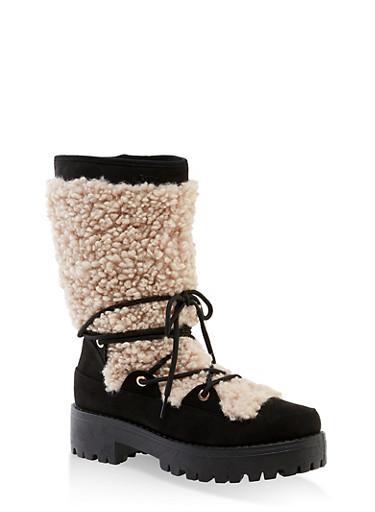 Sherpa Lace Up Boots,BLACK MULTI,large