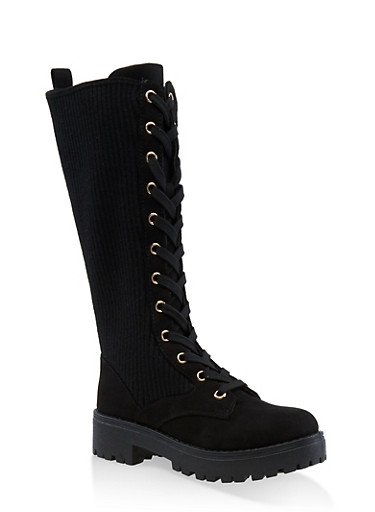Tall Ribbed Lace Up Combat Boots,BLACK SUEDE,large