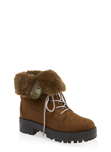 Faux Fur Collar Lace Up Work Boots,OLIVE,large