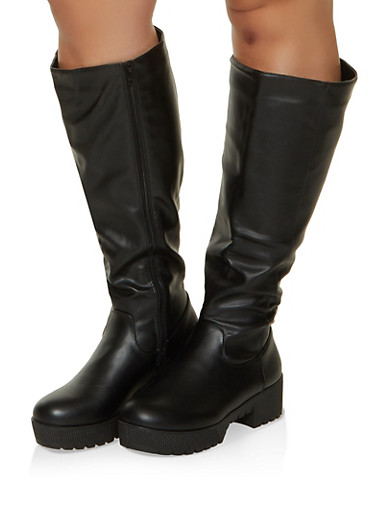 Tall Platform Wide Calf Boots,BLACK,large