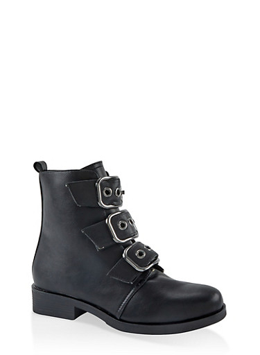 Three Buckle Ankle Booties,BLACK,large