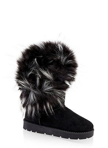 Faux Fur Lined Asymmetrical Boots,BLACK SUEDE,large