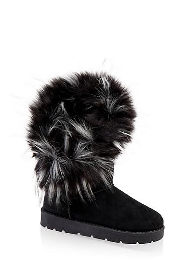 Faux Fur Lined Asymmetrical Boots,BLACK SUEDE,large