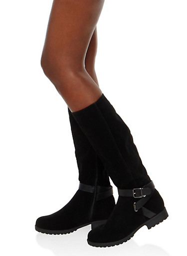 Side Zip Buckle Riding Boots,BLACK F/S,large