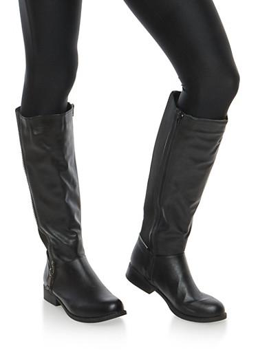 Zipper Detail Stretch Tall Boots,BLACK,large