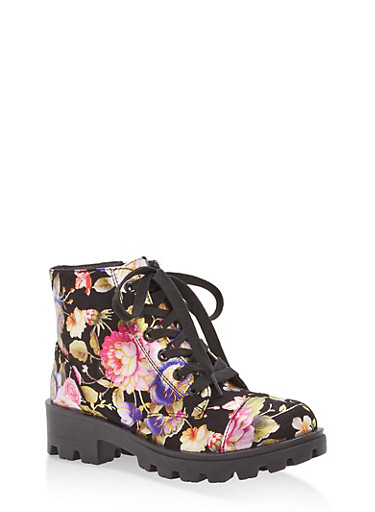 Foil Floral Lace Up Lug Sole Booties,BLACK MULTI,large
