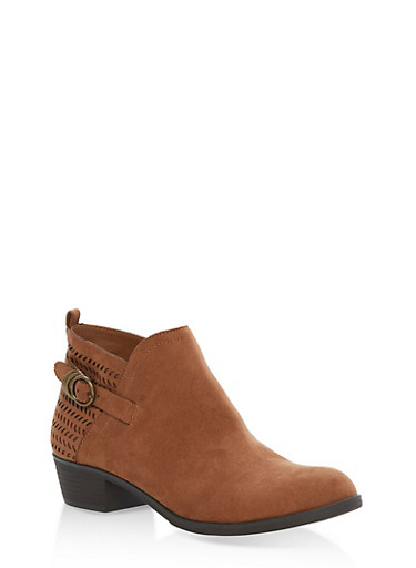 Faux Suede Perforated Booties with Buckle Detail,MAPLE F/S,large