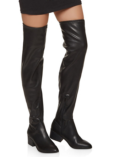 Scrunched Over the Knee Boots,BLACK,large